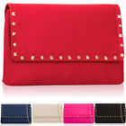 Top Faux Suede Vintage Women Clutch Large Stud Designer Evening Prom Party Bags