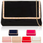Patent Leather Women's Evening Clutch Bag Stud Flap Over Designer Prom Handbags