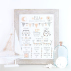 Personalised Birth Details Baby Picture, New Baby Girl Gift, Pink Nursery Art