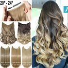 """20/24"""" 120G Invisible Wire Hair Extensions Headband Hidden Secret Wire Hair FR5"""