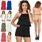 Womens Ladies All In One Open Back Jumpsuit Playsuit Square Neck Frill Plus Size