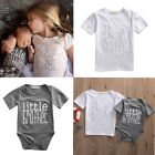 Matching Cotton Clothes Big Sister T-shirt Little Brother Romper Outfits Set US