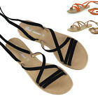 Womens Tie Up Gladiator Flat Sandals Strappy Summer Ladies Shoes Size