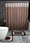 COMPLETE VERSATIL SET SHOWER CURTAIN W/HOOKS BATHROOM MAT RUG STONE DESIGN 15PC