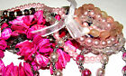 SELECTION OF PRETTY PINK BEAD SHELL PEARL STRETCH BRACELETS BANGLES