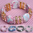 Howlite Turquoise Gemstone Faceted Crystal Spacer Beads Stretchy Bracelet Bangle