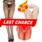 Women Fishnet Tights Pantyhose Suspender Crotchless Side Tie Garter Stockings OS