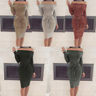 New Women Bodycon Bandage Off-Shoulder Evening Party Dress Ladies Casual Dresses