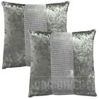 "TWINPACK Crushed Velvet DIAMANTE Diamond Cushion Covers 17"" x 17"", Silver Grey"