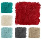 Mongolian Super Soft Faux Fur Shaggy Scatter Cushion Covers 43x43cm Red Cream
