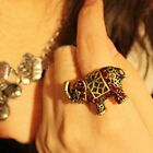 Designer Animal Old Jewellery Ladies Womens Elephant Rhinestone Diamante Ring
