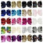 8 inch Big Sequin Hair Bow Alligator Clips Headwear Girls Ha