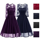 Women's 3/4 Sleeves Lace Dress Vintage 50s Cocktail Party Dress Ball Prom DL008