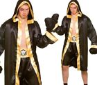 Men Champion Boxer Boxing Sports Robe Fancy Dress Costume Outfit + Gloves New