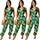 Women Sexy V Neck Sleeveless Leaves Print Backless Spring and Summer Jumpsuit