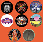HAWKWIND BADGES (7 DESIGNS) DOREMI, IN SEARCH, WARRIOR ON THE EDGE, SPACE RITUAL