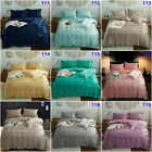 Solid Silk Feel Satin Quilt Doona Duvet Cover Set Queen King Size Solf Bed Cover