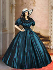 Civil War Wide Dress Ball Gown with Wide Skirt Handmade from Taffeta, 3 Colors