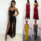 Women's Jumpsuits Sexy Halter Tops Pants Rivets Slit To The Thigh 4 Colors