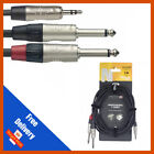 Stagg 1m - 2m - 3m Y Lead Cable 3.5mm Stereo Jack to 2x 1/4