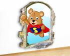 M509 Bear Super Hero Baby Nursery Canvas Picture Poster Wall Art Stickers Room