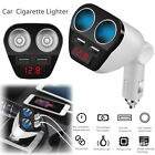 Car LCD Cigarette Lighter Socket Splitter Dual USB Charger DC 12V Power Adapter