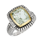 14k Yellow Gold & 925 Green Quartz & Diamond Cushion Antique Like Ring -4.07cttw