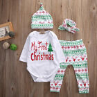 4PCS Infant Baby Boy Girl Outfit Romper Pants Leggings Hat Clothes Christmas Hot