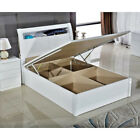 GRACE HIGH GLOSS MDF WOODEN OTTOMAN STORAGE BED WITH FLAT BASE AND LED LIGHT