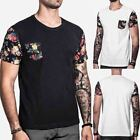 Floral Print Men Short Sleeve Tee Casual Classic Tops Shirt Personality T-Shirt