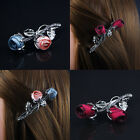 Hair Rose Flower Clip Slides Clips Grips Diamante BridesMaid Party Occasion