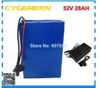 Lithium Battery 27AH 52V Volt Rechargeable Bicycle 1500W E Bike Electric Li-ion