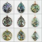 New Natural Multicolor Abalone Shell Round Teardrop Diamond Tree Of Life Pendant
