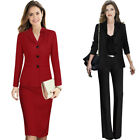 Womens Floral Lapel Pockets 3 Buttons Work Business Party Outwear Jacket Blazer