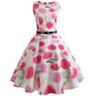 UK Women Vintage Bodycon Sleeveless Casual Evening Party Prom Skater Swing Dress