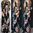 Women's Casual Floral Printed Long Maxi Dress Long Sleeve SunDress with Pockets