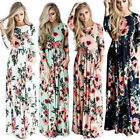 mint green long dresses - Women's Casual Floral Printed Long Maxi Dress Long Sleeve SunDress with Pockets