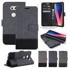 Luxury Canvas PU Leather Card Wallet Stand Case Cover For LG G5 G6 V20 V30 V50