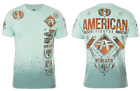 AMERICAN FIGHTER Men T-Shirt LANDER Athletic SEAFOAM DIP DYE SPRAY Biker UFC $40