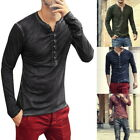 Fashion Mens Henley T-Shirts Long Sleeve V Neck With Button Slim Fit T-Shirts 41