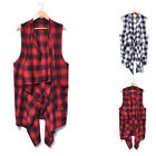 Mens Check& Plaids Irregular Cardigan Sleeveless Hip Hop Jacket Vest Coat Tops