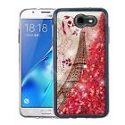 For Samsung Galaxy J7 Sky Pro Liquid Glitter Quicksand HARD Case Phone Cover