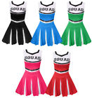 KIDS CHEERLEADER COSTUME CHEER LEADER OUTFIT SQUAD FANCY DRESS DANCE SHOW
