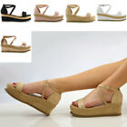 Womens Platform Cork Espadrille Wedge Sandals Ladies Ankle Strap Shoes Size 3-8
