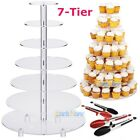 Внешний вид - Large 7 Tier Acrylic Glass Round Wedding Cupcake Stand Tower  + 3Pcs Food Tongs