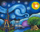 van gogh starry night original - Fine Art Giclee Print Disney Starry Night Over The World Van Gogh