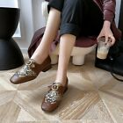 Womens Leather Loafers Casual Shoes metal Horsebit Shoes Slip On Driving Shoes