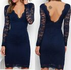 Ex Quiz Ladies Dress Navy Blue Choker Lace Bodycon Fitted Tight Evening Prom
