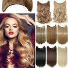 UK Real Natural 3/4 Full Head 100% Stressless Secret Wire in Hair Extensions F6W
