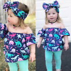 legging outfits pinterest - USA Kids Baby Girl Dinosaur Off Shoulder Tops Pants Legging 3Pcs Outfits Clothes